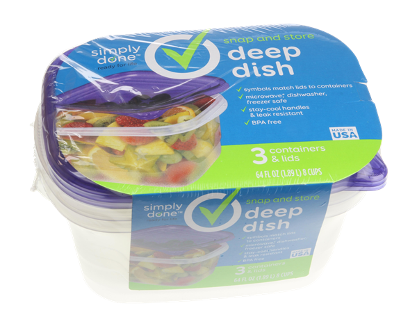 Simply Done Deep Dish Containers & Lids 3Ct