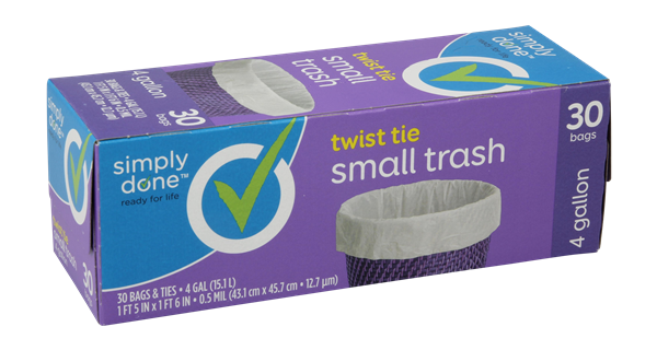 Simply Done Twist Tie Small Trash Bags 4Gal