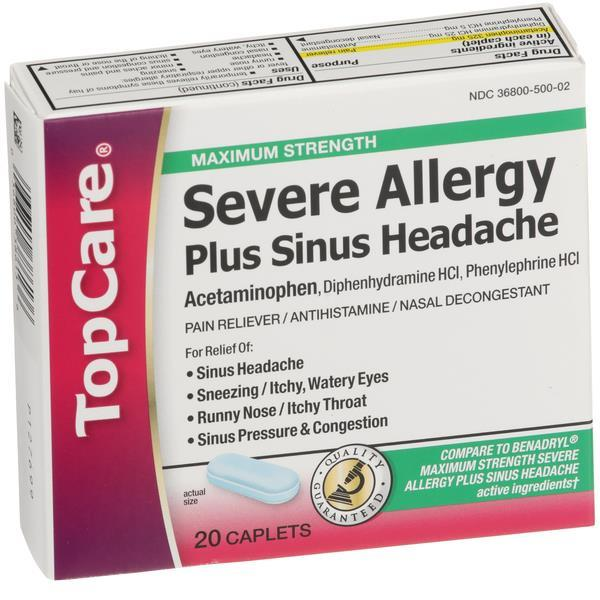 TopCare Severe Allergy Plus Sinus Headache Maximum Strength