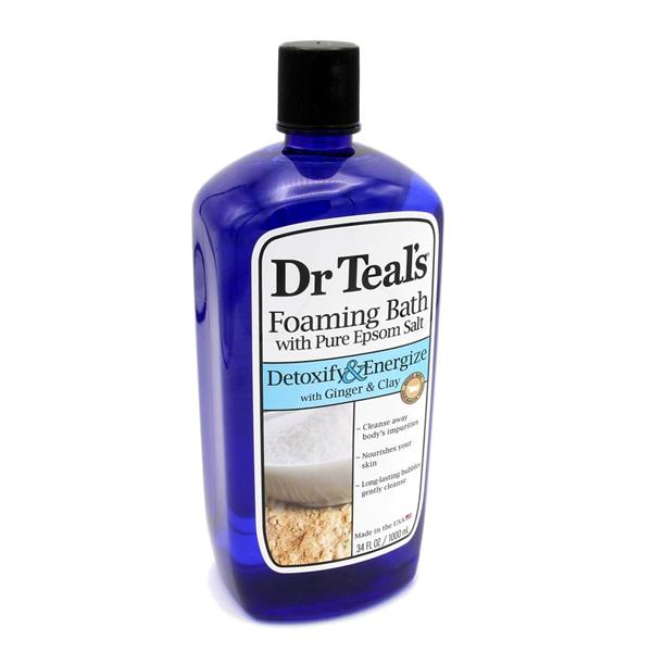 Dr Teal's Foaming Bath with Pure Epsom Salt Detoxify&Energize with Ginger & Clay